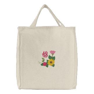 Monograma cor-de-rosa do girassol bolsa de lona