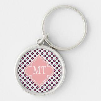 monograma cor-de-rosa e preto das bolinhas do chaveiros