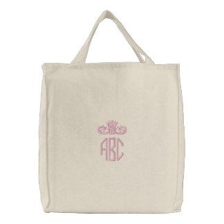 Monograma cor-de-rosa formal com o saco bordado bolsa bordada