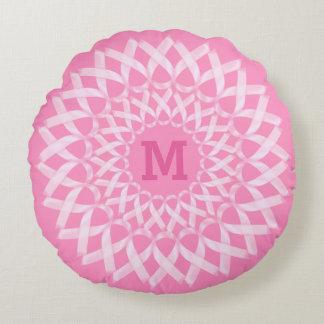 Monograma da fita de câncer de mama almofada redonda