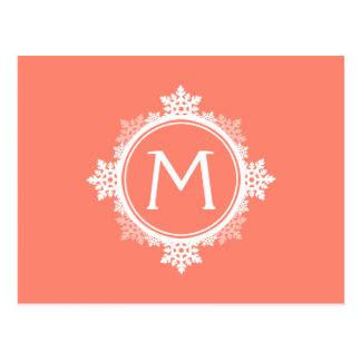 Monograma da grinalda do floco de neve em cartão postal