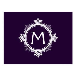 Monograma da grinalda do floco de neve em roxo & cartoes postais