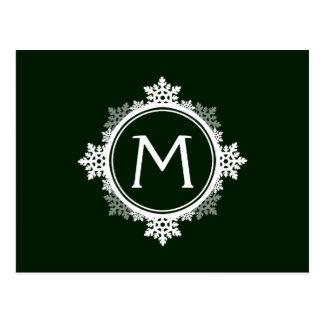 Monograma da grinalda do floco de neve em verde cartões postais