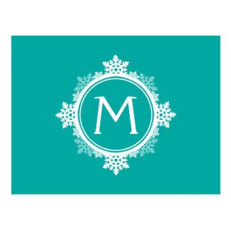 Monograma da grinalda do floco de neve no azul & cartões postais