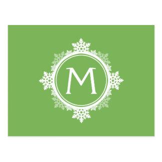 Monograma da grinalda do floco de neve no verde cartao postal