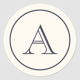 Monograma da inicial do bloco do creme & dos azuis adesivo
