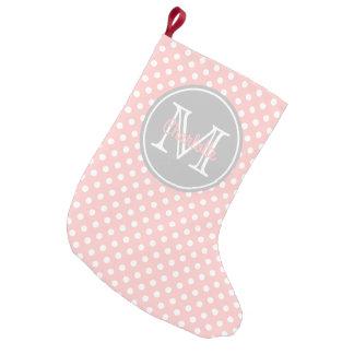 Monograma das bolinhas do rosa de bebê e do cinza meia de natal pequena