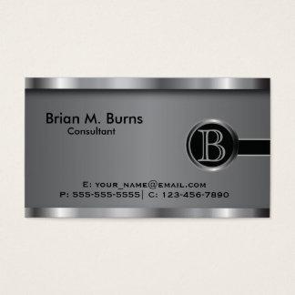 Monograma de aço preto executivo cartão de visitas
