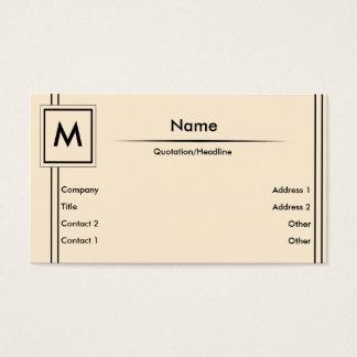 Monograma de creme cartão de visitas