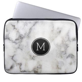 Monograma de pedra de mármore cinzento capa para notebook