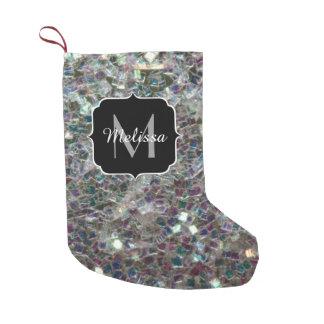 Monograma de prata colorido Sparkly do mosaico Bota De Natal Pequena