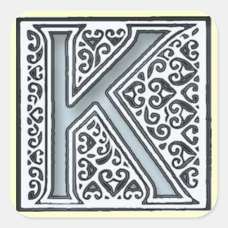 monograma de prata dos azulejos de mosaico - adesivo quadrado