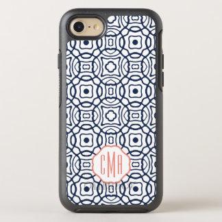 Monograma de Quatrefoil do coral e do marinho Capa Para iPhone 7 OtterBox Symmetry