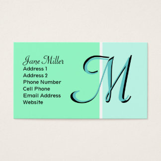 monograma de turquesa cartão de visitas