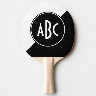 Monograma diagonal preto e branco do bloco da cor raquete de ping-pong