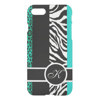 Monograma do animal do leopardo e da zebra da capa iPhone 7