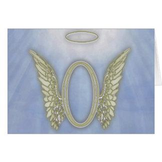 Monograma do anjo da letra O Cartão De Nota