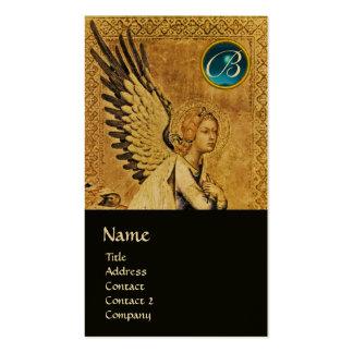 MONOGRAMA do ANJO do AVISO, ouro azul da safira Cartão De Visita