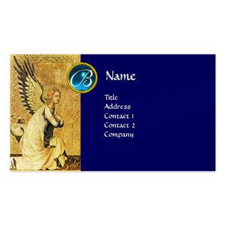MONOGRAMA do ANJO do AVISO, safira azul Cartão De Visita