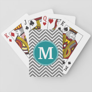 Monograma do costume das vigas de turquesa e de cartas de baralho