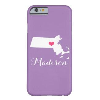 Monograma do costume do Lilac do coração de Capa Barely There Para iPhone 6