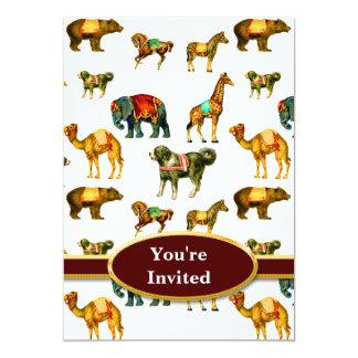 Monograma do divertimento do animal de circo convites
