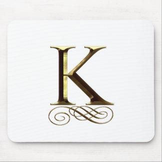 "Monograma do ouro"" K"" do VIP Mouse Pad"