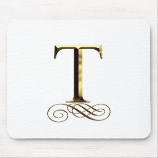 "Monograma do ouro"" T"" do VIP Mouse Pad"