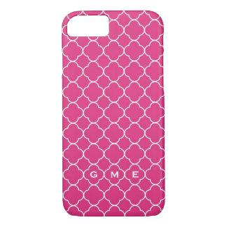 Monograma do rosa quente 3 do teste padrão do capa iPhone 7