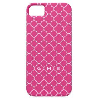 Monograma do rosa quente 3 do teste padrão do capas para iPhone 5