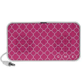 Monograma do rosa quente 3 do teste padrão do trev caixinhas de som de viagem