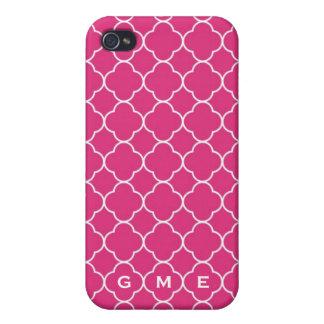 Monograma do rosa quente 3 do teste padrão do trev capa iPhone 4
