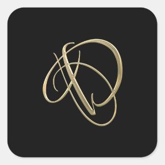 Monograma dourado da inicial D Adesivo Quadrado