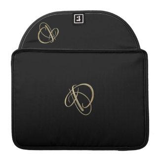 Monograma dourado da inicial D Bolsa Para MacBook Pro