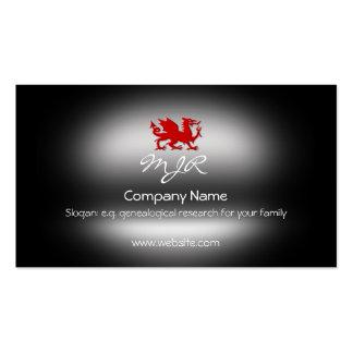 Monograma, dragão heráldico vermelho, cartão de visita