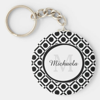 Monograma e nome geométricos preto e branco chaveiro