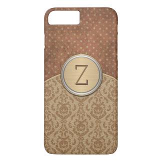 Monograma elegante da laranja de Brown Capa iPhone 7 Plus