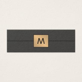Monograma elegante moderno da obscuridade do ouro cartão de visitas mini