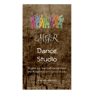 Monograma, estúdio da dança, couro-efeito cartão de visita