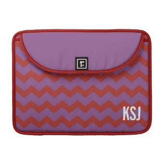 Monograma feito sob encomenda roxo vermelho do tes bolsa para MacBook pro