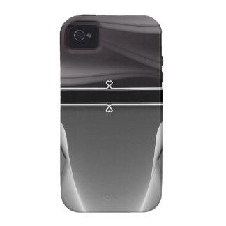 Monograma feminino do coração do metal capa para iPhone 4