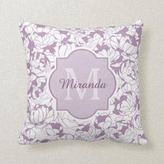 Monograma feminino floral roxo moderno com nome almofada