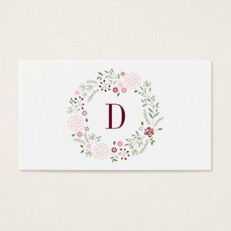 Monograma floral cartão de visitas