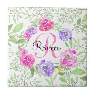 Monograma floral da aguarela da peônia cor-de-rosa azulejo quadrado pequeno