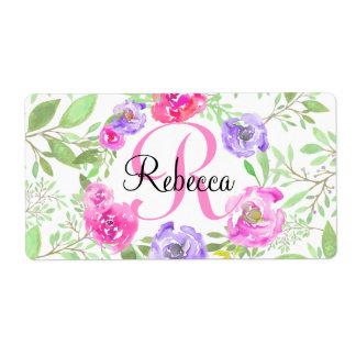 Monograma floral da aguarela da peônia cor-de-rosa etiqueta de frete