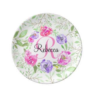 Monograma floral da aguarela da peônia cor-de-rosa prato de porcelana