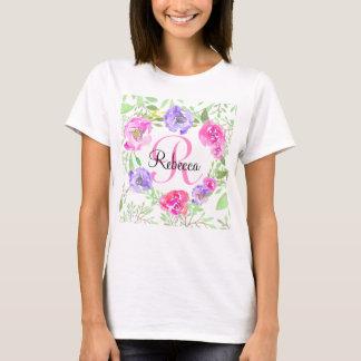 Monograma floral da aguarela da peônia cor-de-rosa t-shirts