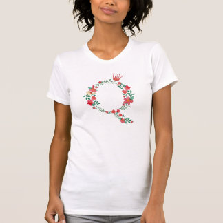Monograma floral da letra Q Camiseta