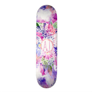 Monograma floral do abstrato azul roxo da aguarela shape de skate 21,6cm