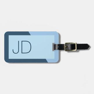 Monograma geométrico azul simples legal etiqueta de bagagem